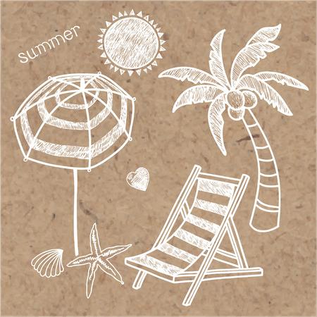 kraft: Summer doodle isolated symbols on kraft background. Vector handdrawn illustration. Illustration