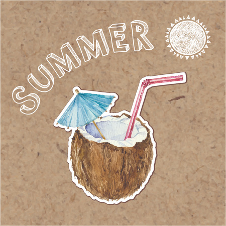 cocos: Summer background. Hand drawn vector illustration on kraft background.