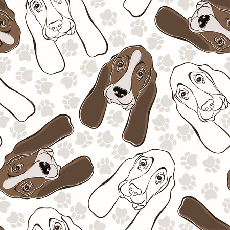 hound: Vector seamless pattern with basset hound and traces.