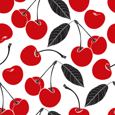 cherry: Seamless pattern with cherry on a white background.