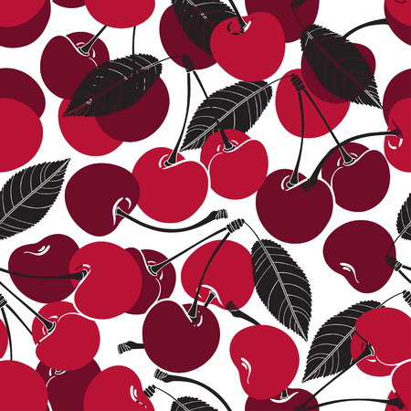 cherry pattern: Seamless pattern with cherry on a white background.