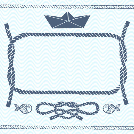 nautical rope: Nautical card with frame marine knots fishes and paper boat.Vector background with space for text.