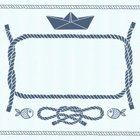 barco caricatura: Tarjeta náutica con marina marco nudos peces y boat.Vector documento de antecedentes con espacio para texto. Vectores