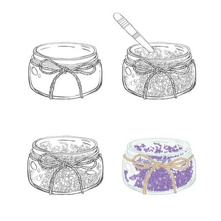 aromatique: Bocaux avec du sel aromatique isol� sur fond blanc. Hand drawn set illustrationvector.
