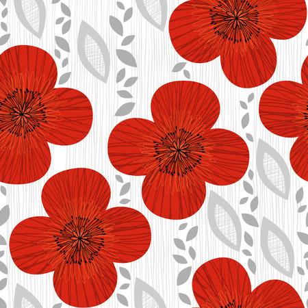 ポピーとシームレスなパターン。手描き花の背景。  イラスト・ベクター素材