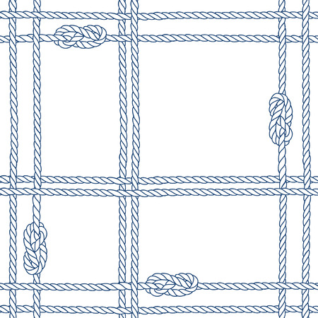 Seamless pattern with marine rope and knots on a white background.