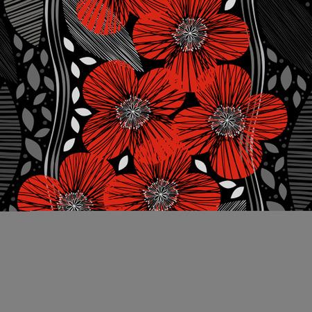 amapola: Modelo inconsútil con las amapolas. Handdrawn fondo floral.