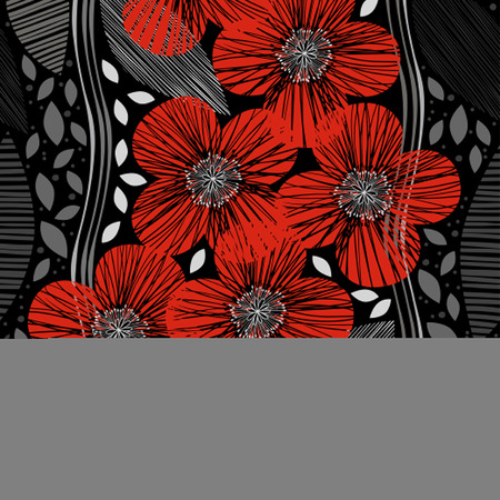 poppies: Seamless pattern with poppies. Handdrawn floral background.