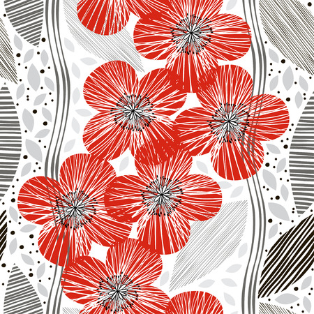 Seamless pattern with poppies. Handdrawn floral background.