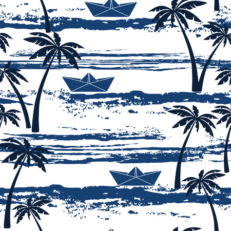Seamless pattern with sea palm trees and paper boats. Summer background.