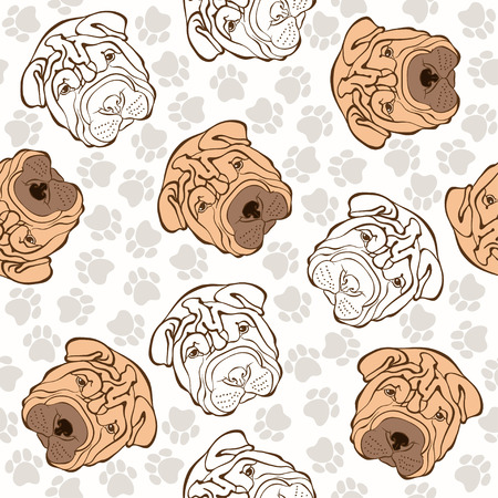 sharpei: Vector seamless pattern with sharpei and traces.