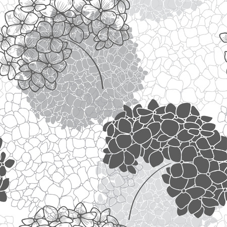 thickets: seamless floral pattern with hydrangea.