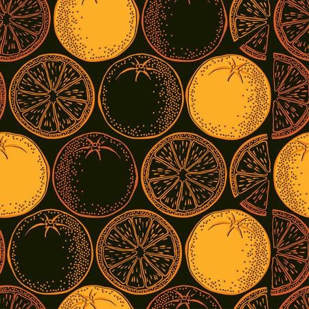 zest: Seamless background with orange. Vector pattern.
