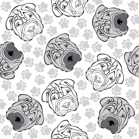 sharpei: seamless pattern with sharpei and traces.