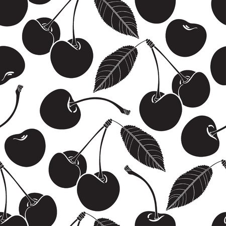 black cherry: Seamless pattern with cherry.  Illustration
