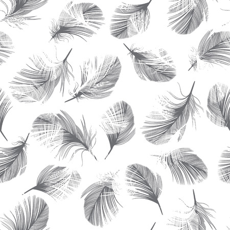 lightweight ornaments: Seamless pattern with hand-drawn feathers.