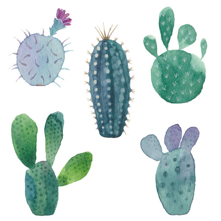 Cactus patrón transparente sobre fondo blanco. acuarela dibujado a mano ilustración set. Foto de archivo - 43176391
