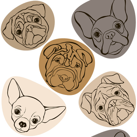 wrinkled face: seamless pattern with faces dogs. Illustration