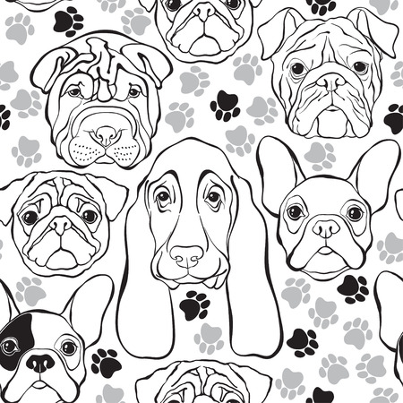 pure breed: seamless pattern with faces dogs and traces. Monochrome background.
