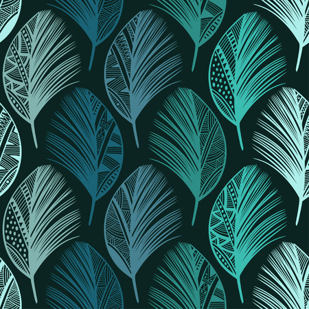 lightweight ornaments: Seamless pattern with hand-drawn colored feathers. Abstract doodle background. Illustration
