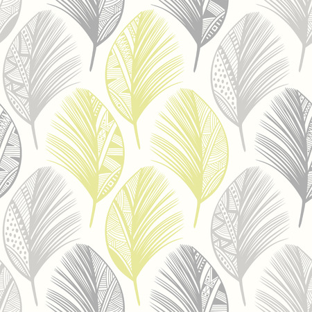 lightweight ornaments: Seamless pattern with hand-drawn feathers. Abstract doodle background. Illustration