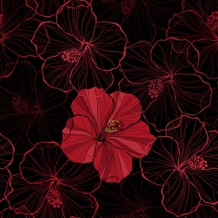 red hibiscus flower: Seamless pattern with hibiscus flowers. Illustration
