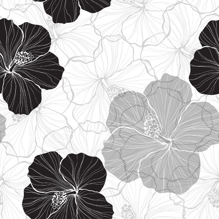 Black and white seamless pattern with hibiscus flowers.