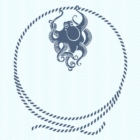 rope: Nautical card with frame, marine knots, ropes and octopus.Vector background with space for text.