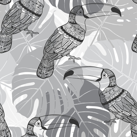monstera leaf: Seamless pattern with toucans and palm leaves. Monochrome tropical background. Illustration