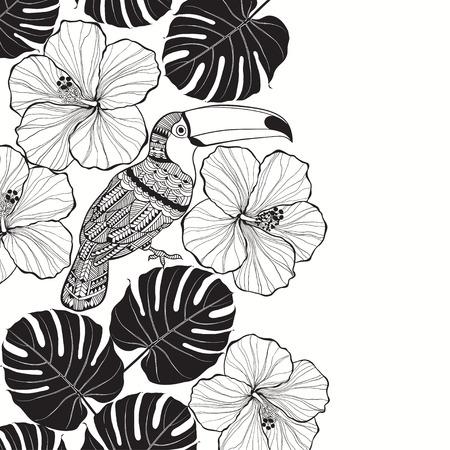 熱帯の花とオオハシ。モノクロ熱帯背景