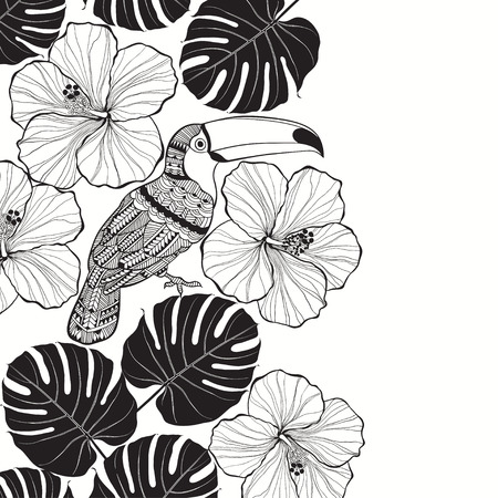 Toucan with tropical floral. Monochrome tropical background Illustration