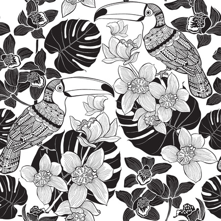 flowers on white: Tropical seamless pattern.