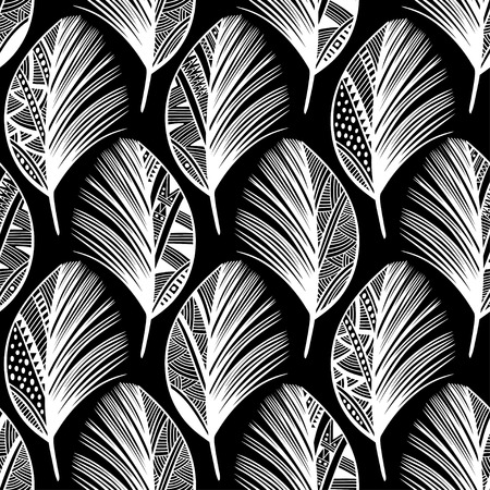 lightweight ornaments: Seamless pattern with hand-drawn doodle feathers. Illustration