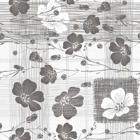 Monocromo sin patrón de flores abstractas. Dibujado a mano a fondo floral. Foto de archivo - 44519373