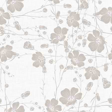 Monochrome seamless pattern of abstract flowers. Hand-drawn floral background. Çizim