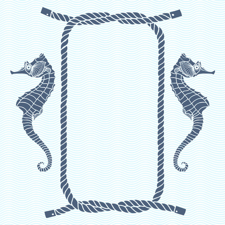Nautical card with frame, marine knots, ropes and seahorse. Vector background with space for text. Иллюстрация