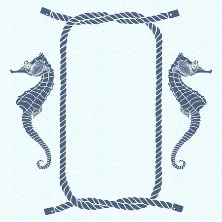 nudo: Tarjeta náutica con el marco, nudos marinos, cuerdas y caballito de mar. Vector de fondo con espacio para el texto.