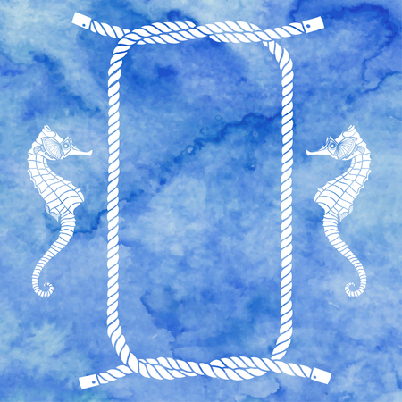 cartoon seahorse: Nautical card with frame, marine knots, ropes and seahorse on blue watercolor background.Vector background with space for text.