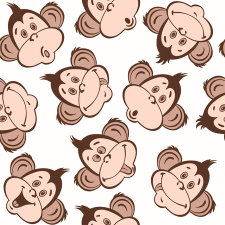 monkey face: Seamless pattern with cute faces of monkeys. Kids background.