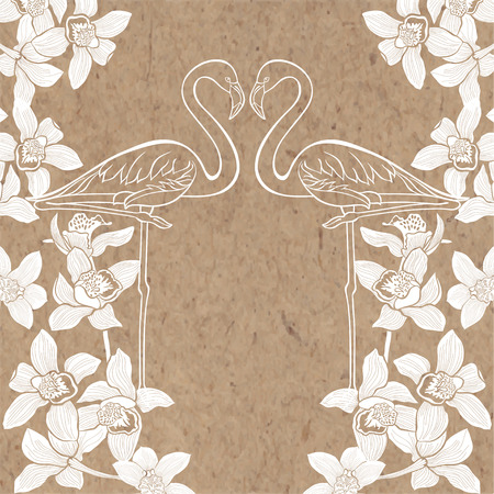 kraft paper: Tropical background with flamingo and orchids on kraft paper. Can be greeting card, invitation, design element.
