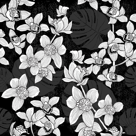 Tropical seamless pattern with orchids and palm leaves. Monochrome vector background.