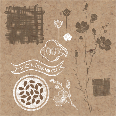 kraft paper: Flax set. Flax labels, stickers and elements isolated on kraft paper background.