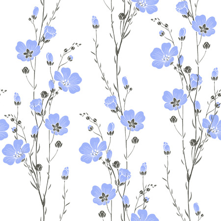 Vector seamless pattern with flax flowers.