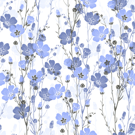 Floral seamless pattern of flax plant with flowers and buds. Stock Illustratie