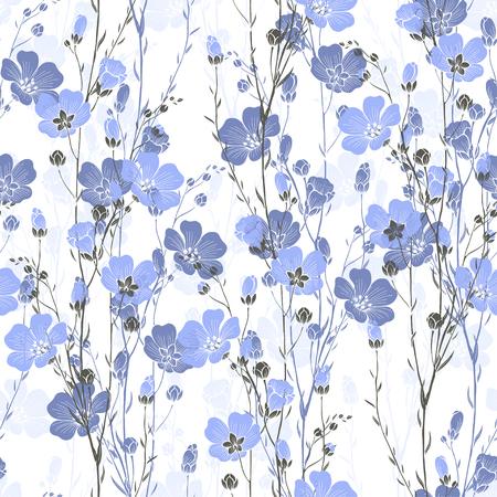 Modelo inconsútil floral de la planta del lino con flores y capullos.