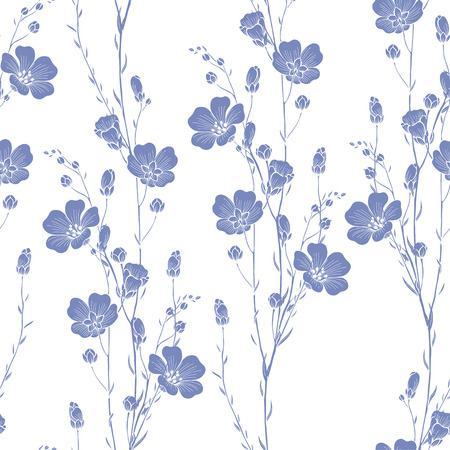 Floral seamless pattern of flax plant. Vector abstract floral background.