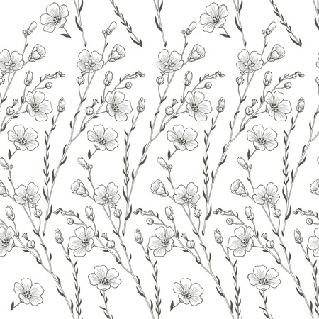 flax: Floral seamless background of flax plant. Monochrome vector background.