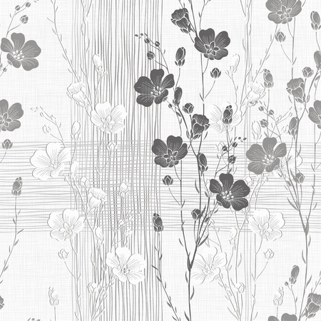 亜麻の植物の花のシームレスな背景。モノクロのベクトルの背景。