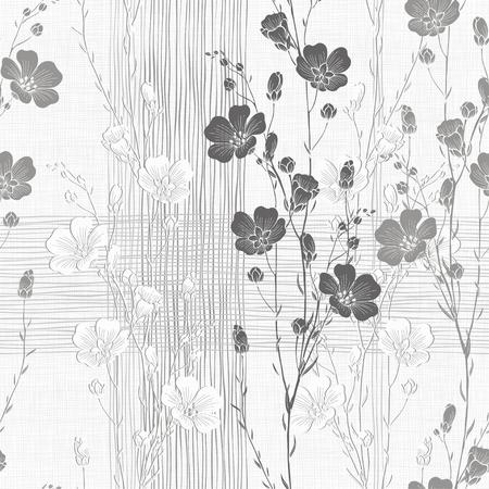 Bloemen naadloze achtergrond van vlas plant. Monochrome vector achtergrond.