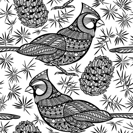abstract animal: Seamless pattern with birds and cones